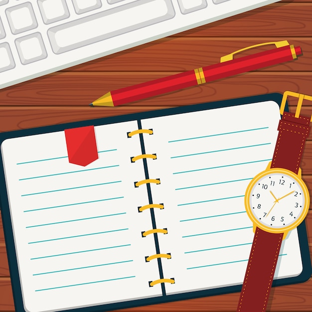 Time management with notebook. Premium Vector