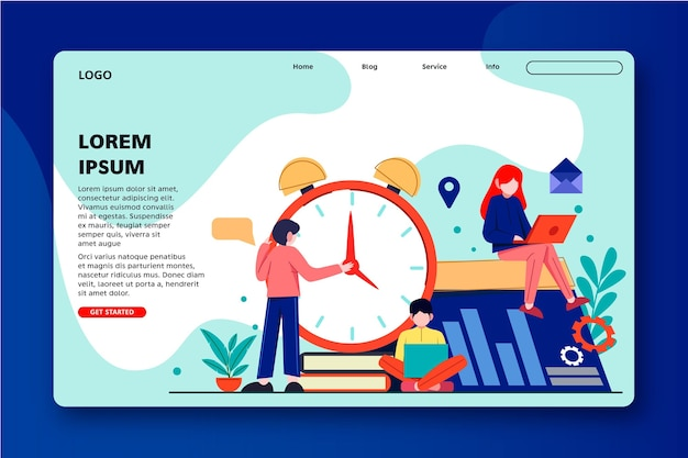 Time management with people and clock landing page Free Vector