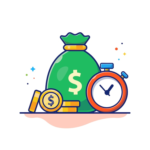 Time money illustration. clock, money bag and stack of coins, business concept white isolated Premium Vector