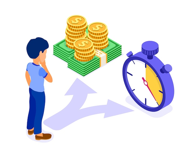 Time or money isometric concept character man makes choice between coins and stopwatch isometric   illustration Premium Vector