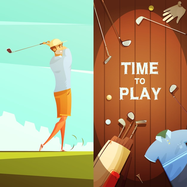 Time to play 2 retro cartoon banners with golf equipment composition and player on course Free Vector
