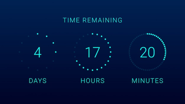 Time remaining countdown timer Premium Vector