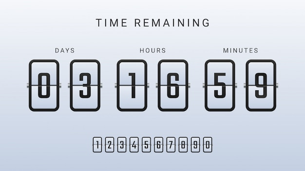 Time remaining illustration with flip countdown clock counter timer Premium Vector