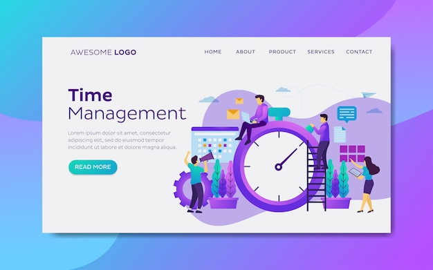 Time and schedule management landing page template Premium Vector