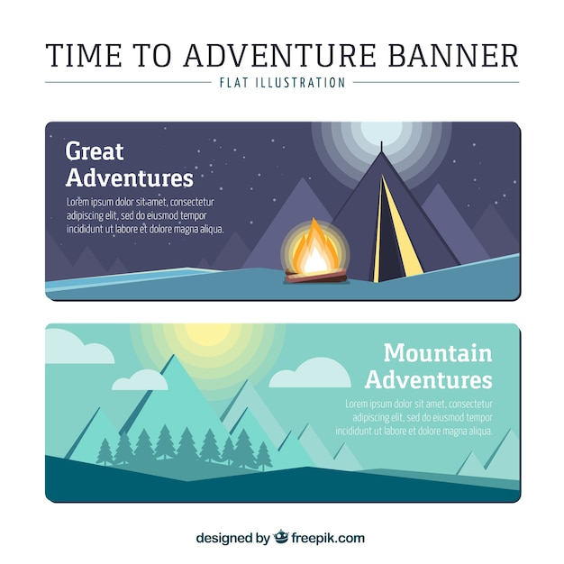 Time to adventure banners in flat design