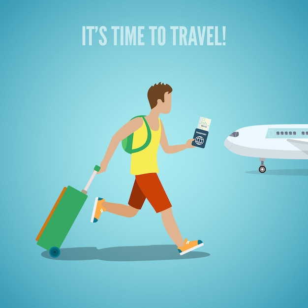旅行代理店のウェブサイト休暇観光イラストへの時間。手にバックパックと飛行機で実行されているスーツケースの荷物のチケットを持つ男。人々は国の都市のランドマークを訪れます。 無料ベクター