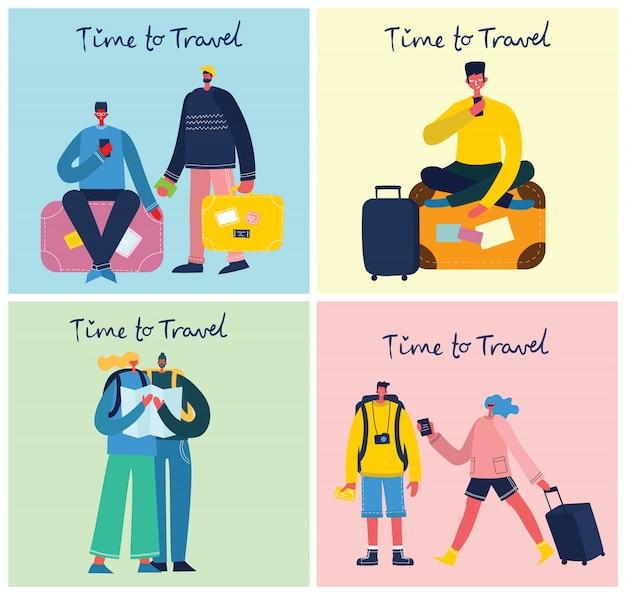 Время путешествовать. векторная иллюстрация с изолированным путешественником молодого человека в различной деятельности с багажом и туристическим оборудованием в плоском дизайне Premium векторы