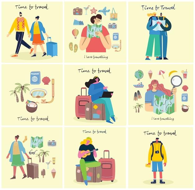 Время путешествовать. векторная иллюстрация с изолированными молодых людей путешественника в различной деятельности с багажом и туристического снаряжения в современном плоском дизайне Premium векторы