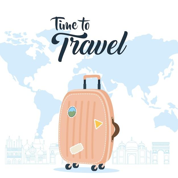 Время путешествовать с сумкой и дизайном карты мира, багажным багажом и темой туризма векторная иллюстрация Premium векторы