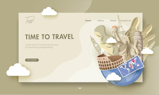 Целевая страница с иллюстрацией известных зарубежных стран памятников и карта мира для всемирного дня туризма или time to travel. Premium векторы