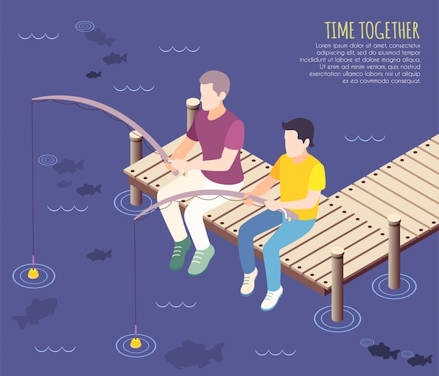 Time together isometric and flat background with two friends are fishing together  illustration Free Vector
