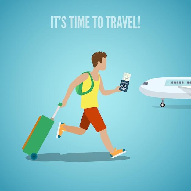 Tempo per l'illustrazione del turismo di vacanza del sito web dell'agenzia di viaggi. uomo con il biglietto in mano zaino e bagaglio valigia in esecuzione sull'aereo. la gente visita i punti di riferimento delle città dei paesi. Vettore gratuito