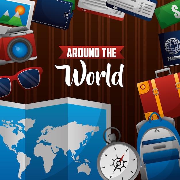Time to travel around the world Premium Vector