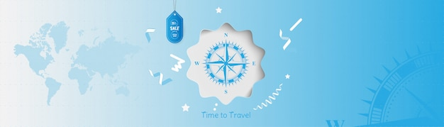 Time to travel. banner background with sale and special offer 25% on tourism. concept with vintage compass and world map. Premium Vector