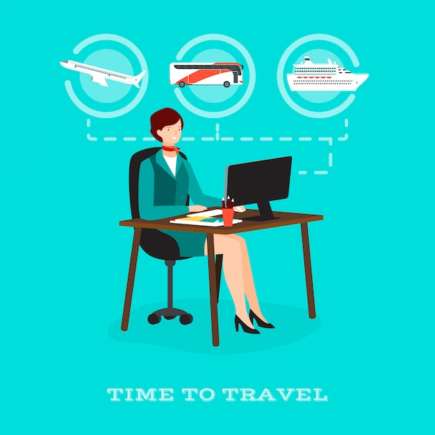 Time to travel concept Premium Vector