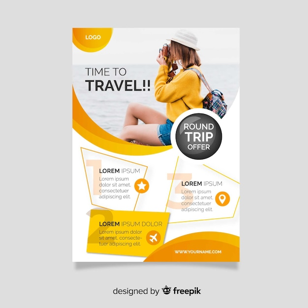 Time to travel flyer template Free Vector