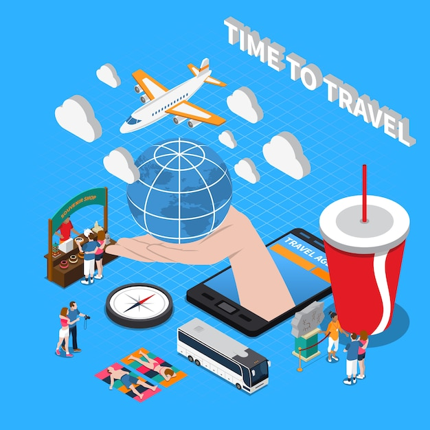 Time to travel isometric composition Free Vector