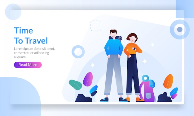 Time to travel landing page Premium Vector