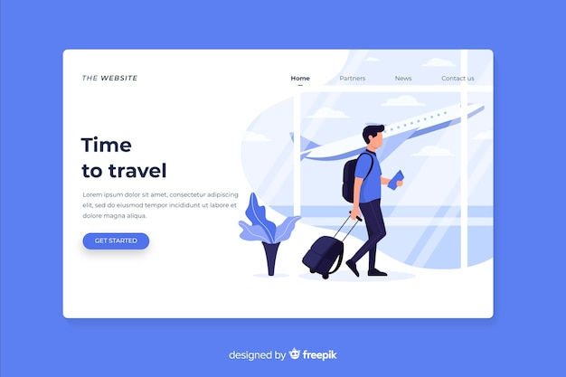 Time to travel landing page Free Vector