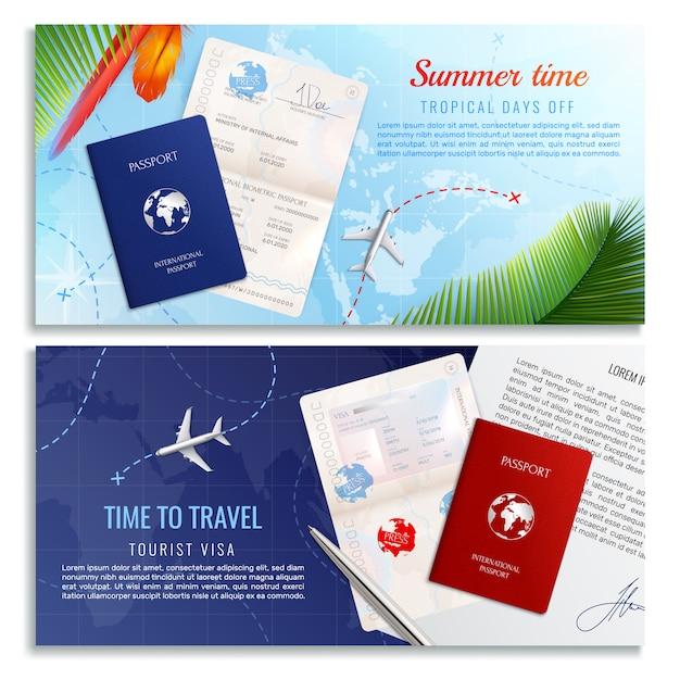 È tempo di viaggiare con banner realistici con modelli di passaporto biometrico e modulo di domanda di visto turistico realistico Vettore gratuito