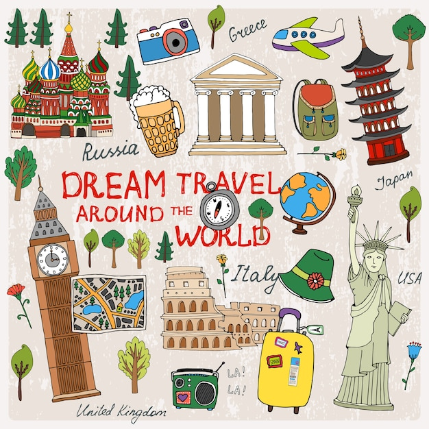 Time to travel with landmarks from different countries Free Vector