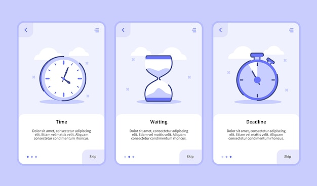 Time waiting deadline onboarding screen for mobile apps template banner page ui with three variations modern flat outline style Premium Vector