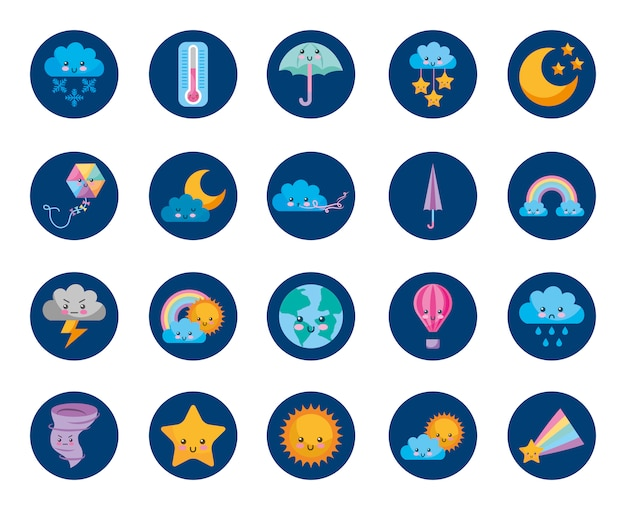 Time and weather set icons Free Vector