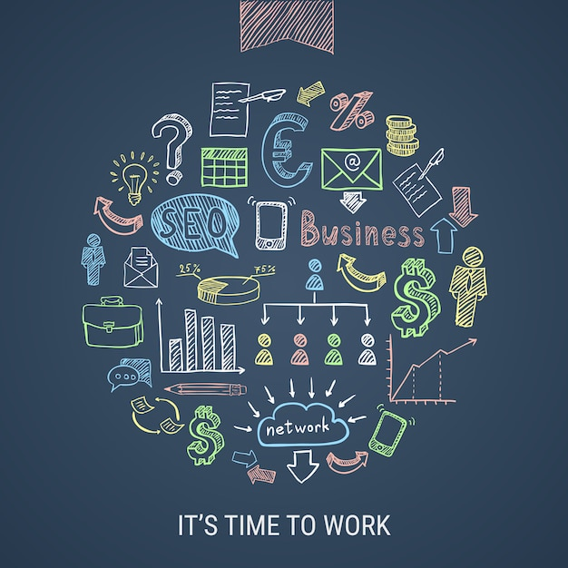 Time to work hand drawn icons Free Vector