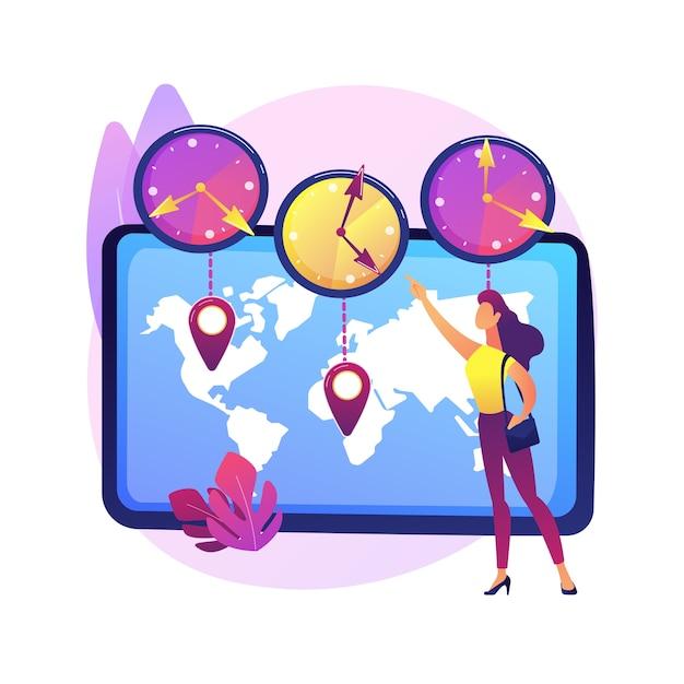 Illustrazione di concetto astratto di fusi orari. standard temporale, coordinamento aziendale internazionale, gestione delle riunioni, convertitore utc, gmt, calcolatore dell'orologio mondiale, jet lag Vettore gratuito