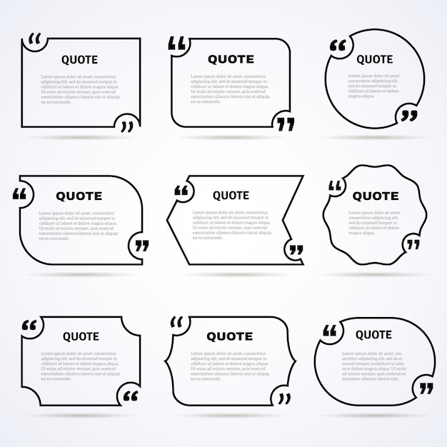 Timeless wisdom quotes outlined icons set Free Vector