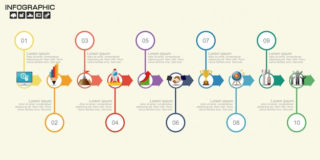 Timeline arrow infographics template ten options. Premium Vector