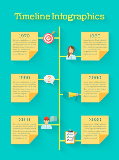 Timeline business infographic with feedback icons Premium Vector