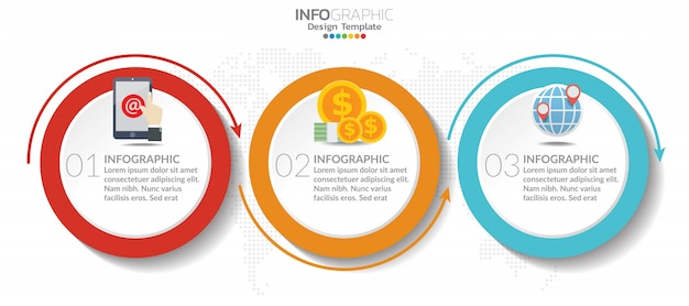 Timeline chart infographic template with 3 steps or options. Premium Vector