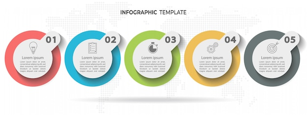 Timeline circle infographic template 5 options or steps. Premium Vector