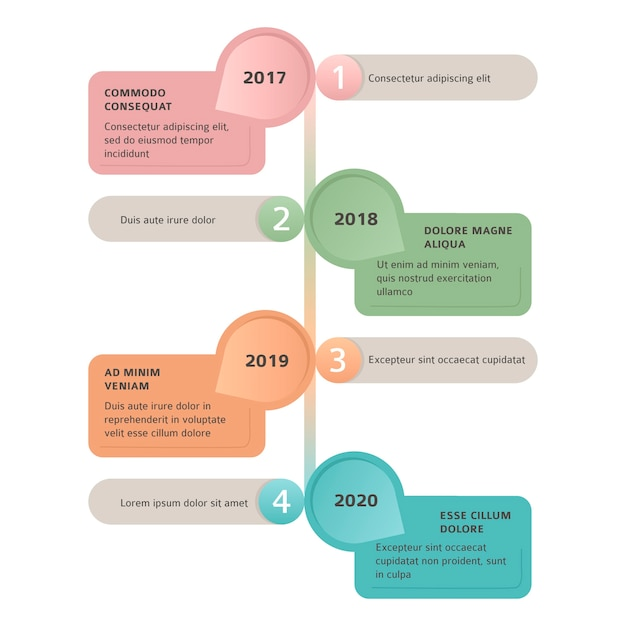 Timeline flat infographic template Free Vector
