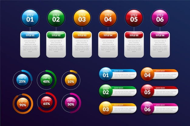 Timeline glossy realistic infographic Free Vector