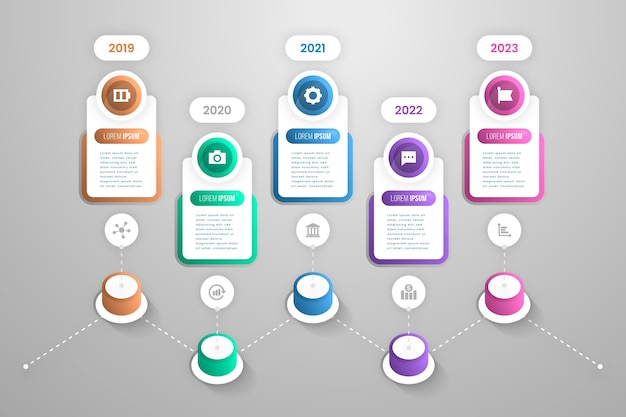 Timeline gradient template infographic Free Vector