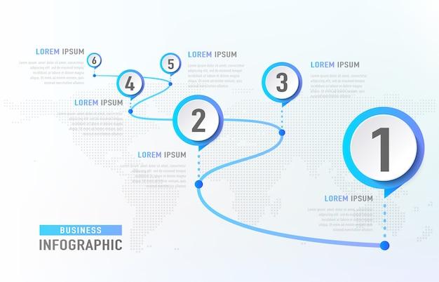Хронология инфографики 6 вех, как дорога. бизнес-концепция инфографики шаблон. Бесплатные векторы