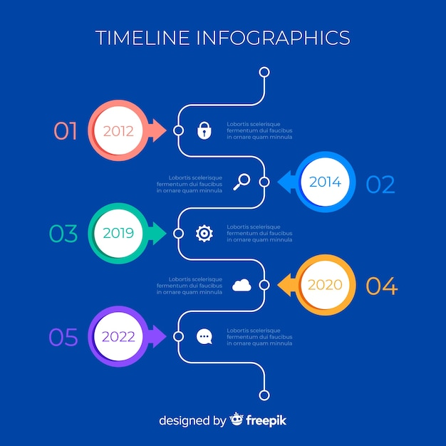 Timeline infographic charts with numbers Free Vector