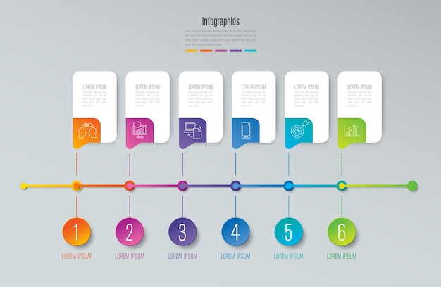 Timeline infographic elements for the presentation Premium Vector