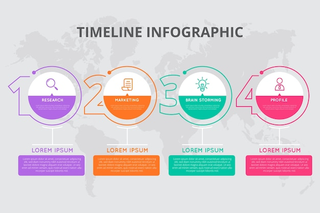 Timeline infographic in flat design Free Vector