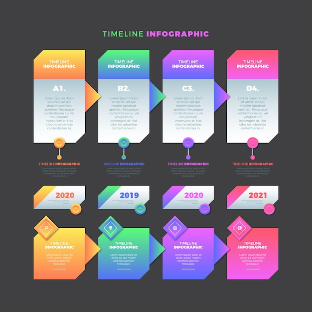 Timeline infographic gradient template Free Vector