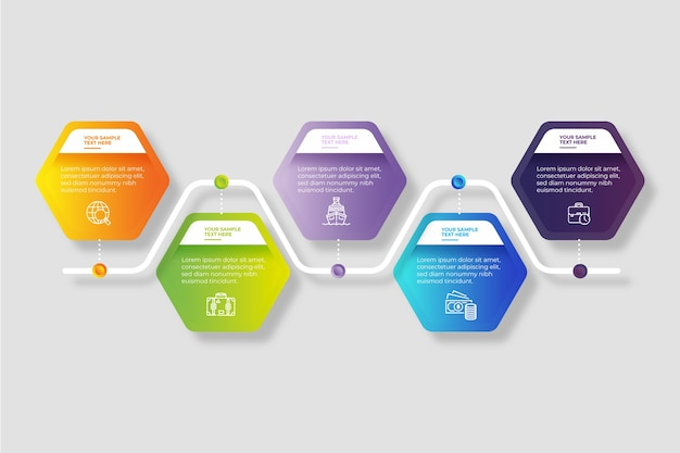 Timeline infographic in gradient Free Vector