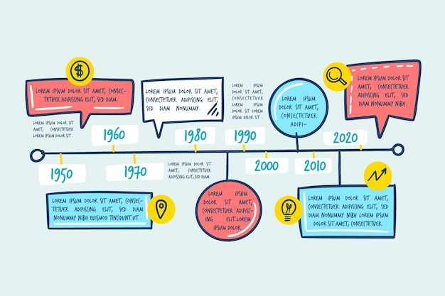 Timeline infographic hand drawn style Free Vector