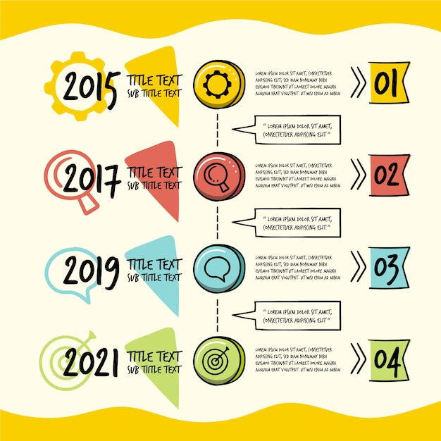 Timeline infographic in hand drawn Free Vector