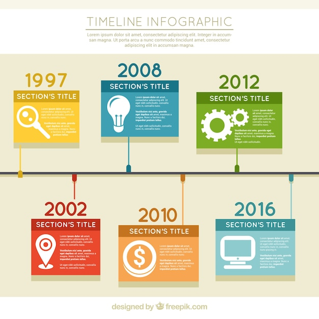 Timeline infographic in flat design Vector | Free Download