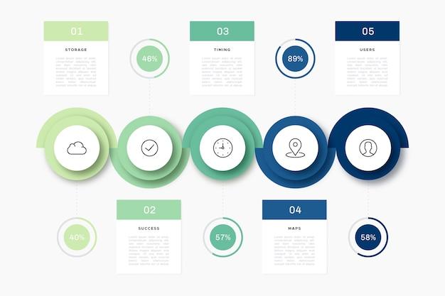 フラットなデザインのタイムラインインフォグラフィック 無料ベクター
