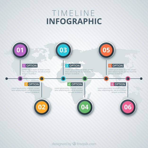 Timeline Infographic On a Map Vector | Free Download