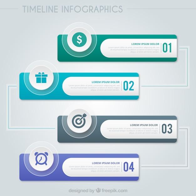 Timeline infographic set Free Vector