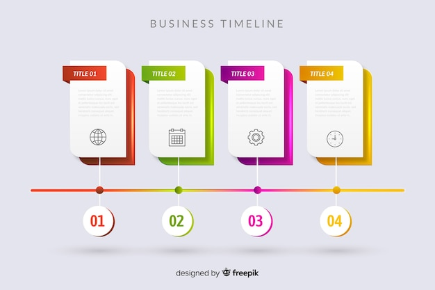 Timeline infographic steps template Free Vector